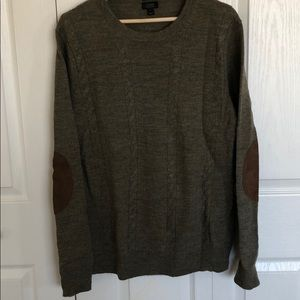 Olive green jcrew sweater w/ elbow patches